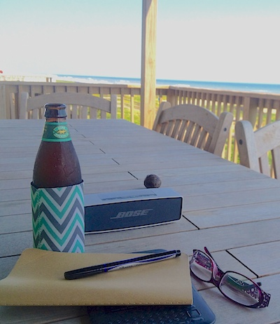 writing at the beach